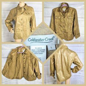 Coldwater Creek Metallic Bronze Floral Jacket